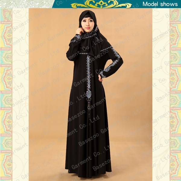 2013 new style fancy embroideried lslamic clothing blue muslim dress MF19509