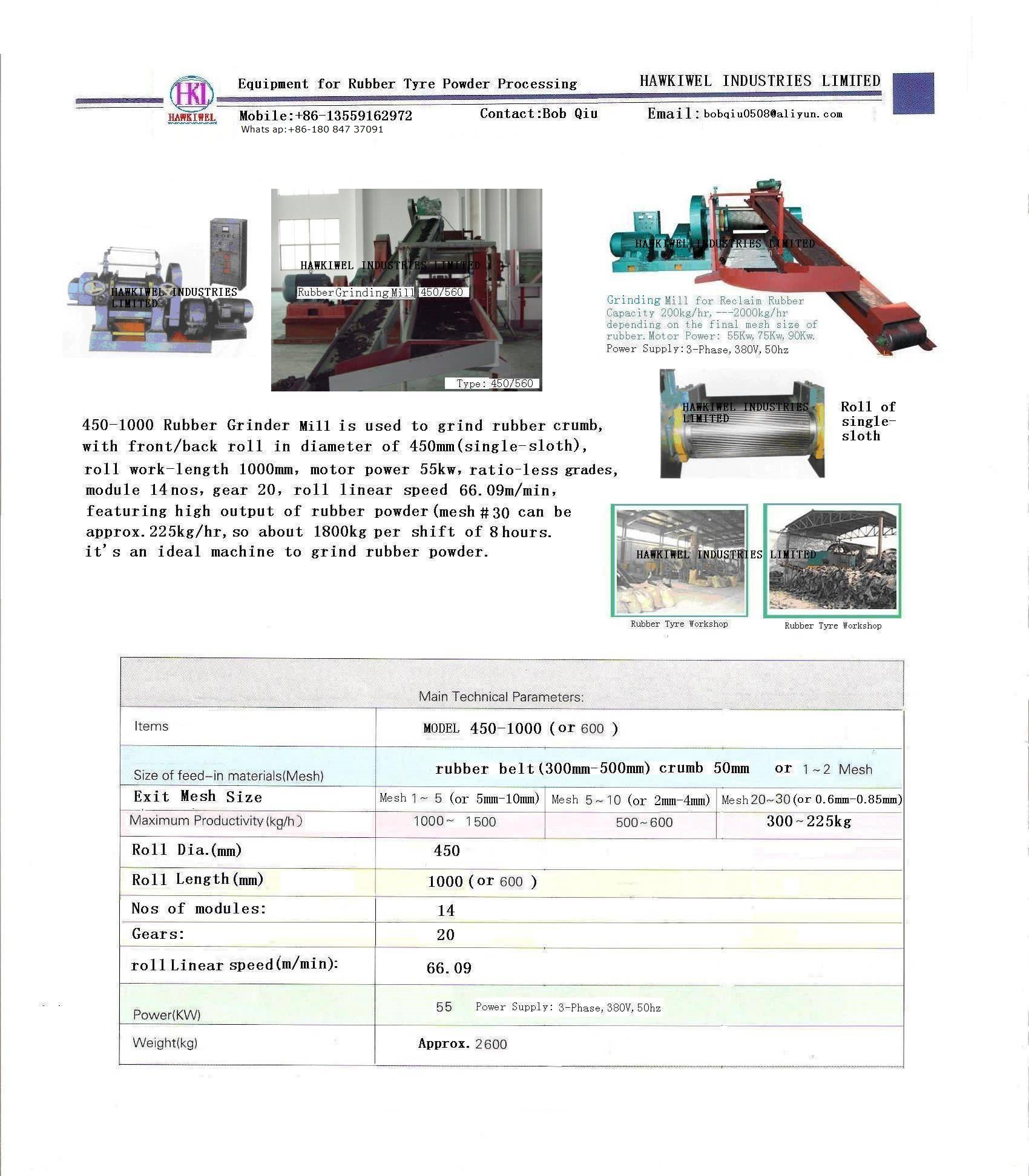 rubber grinding mill