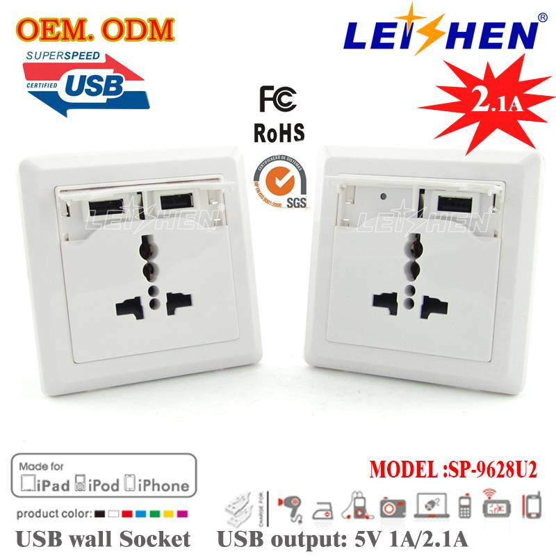 Professional Designed FCC, CE&ROHS Approved Universal Dual USB Wall Socket with USB Output 5V 1A/2.1