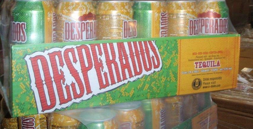 Desperados beer bottles and cans,