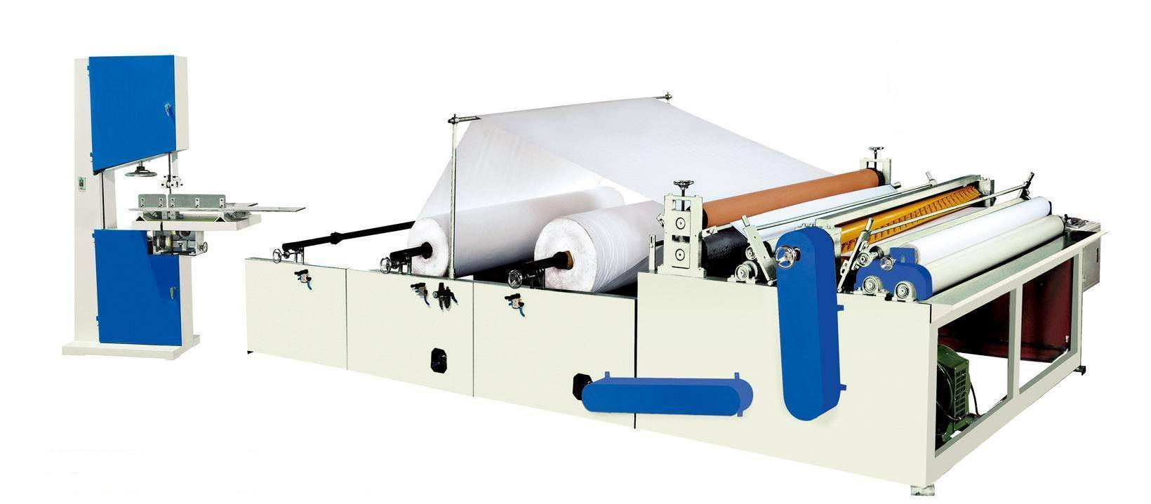 Semi-auto toilet paper roll converting/making machine