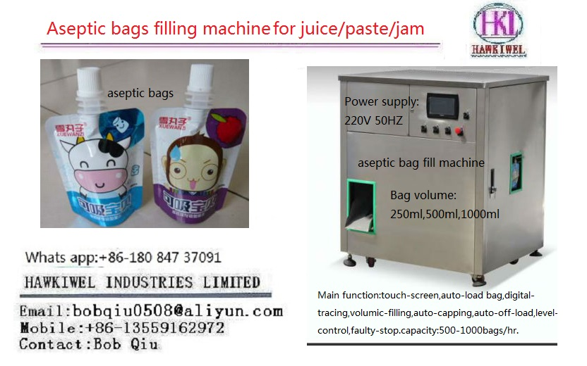 aseptic filling/packing machine for juice/paste bags