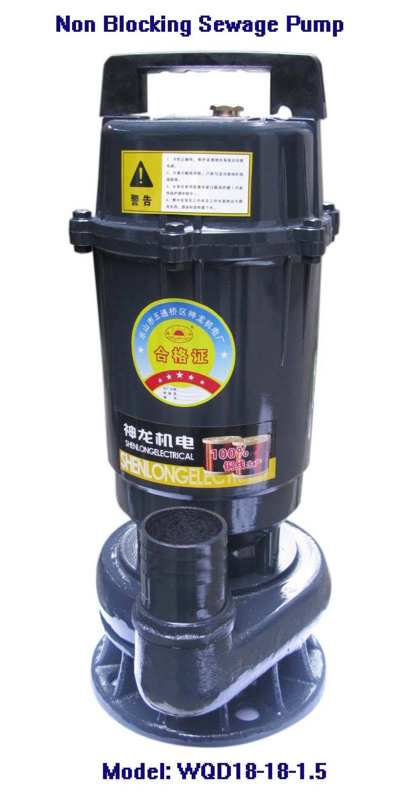 Electric Non-blocking Sewage Pump-WQD18-18-1.5, Cast Iron Tube
