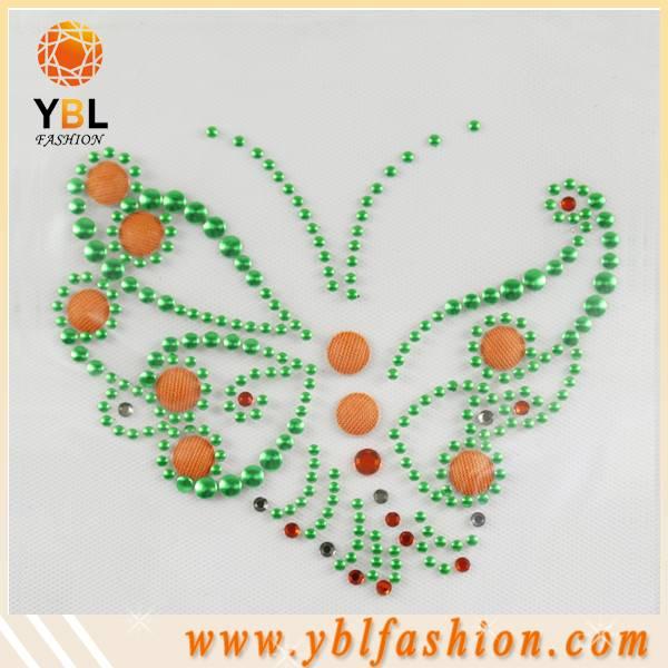 Butterfly hot fix fabric button rhinestone motif transfer