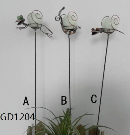 S/3 Metal Frog&Snail Garden Stake