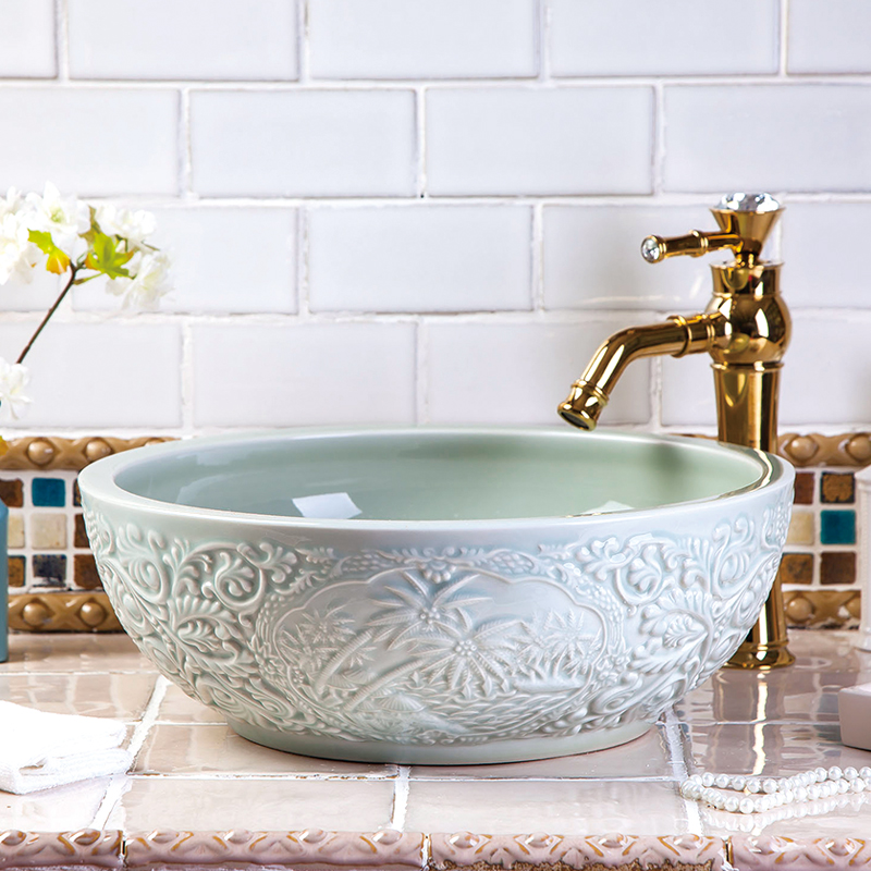 Restaurant High-end Luxury Handmade Bathroom Without Faucet Above Countertop Ceramic Washbasin Sinks