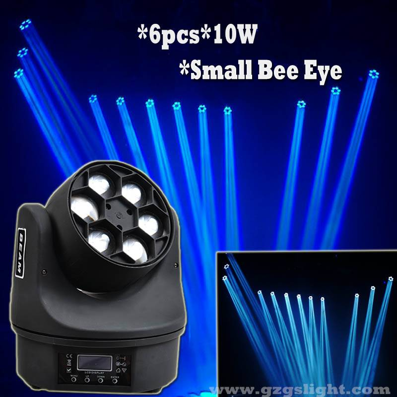 6pcs 10W Mini Bee Eye LED Moving Head Beam Light