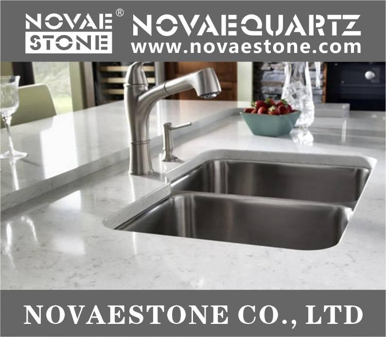 Bianco Carrara Quartz Slab, Quartz slab, Quartz countertops