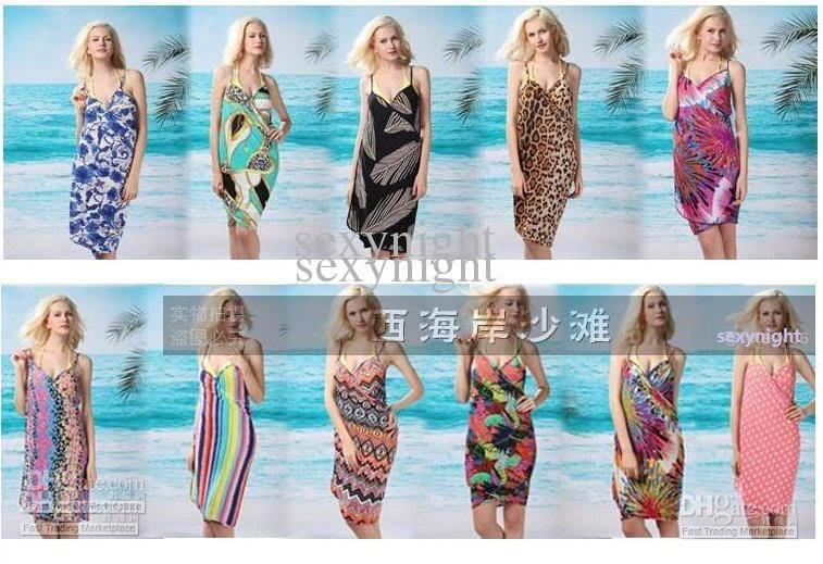 Colorful Women Leopard Print Swimwear Bikini Cover Up scarf V Neck Gallups Backless Beach Dress