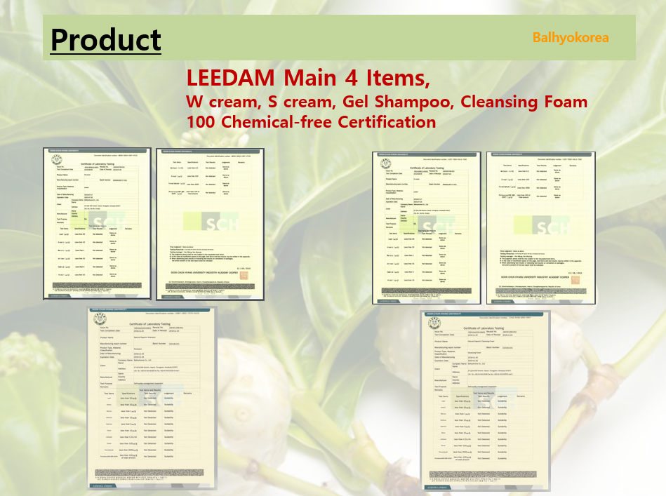 Our main 4 Items 100% chemical-free Certification.