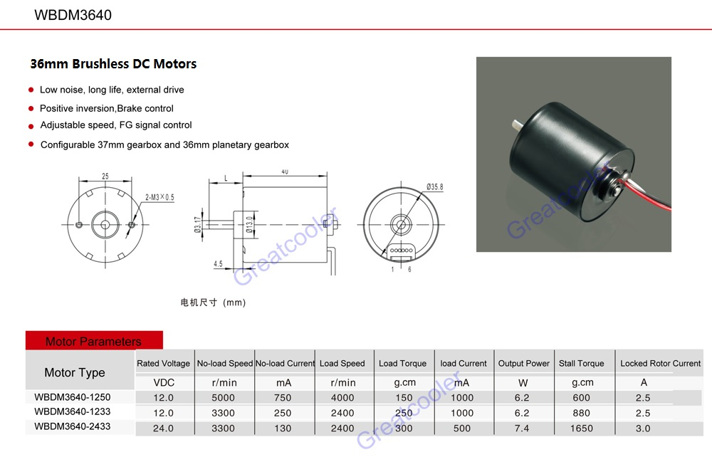 Greatcooler High speed electrical dc motor
