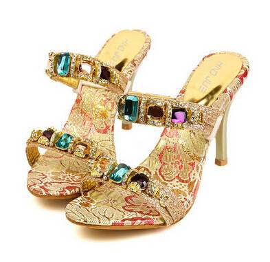 Women Pumps Women Mules Clogs ,Sexy High Heels With Rhinestone Lady Sandals Fashion Summer Shoes Fli