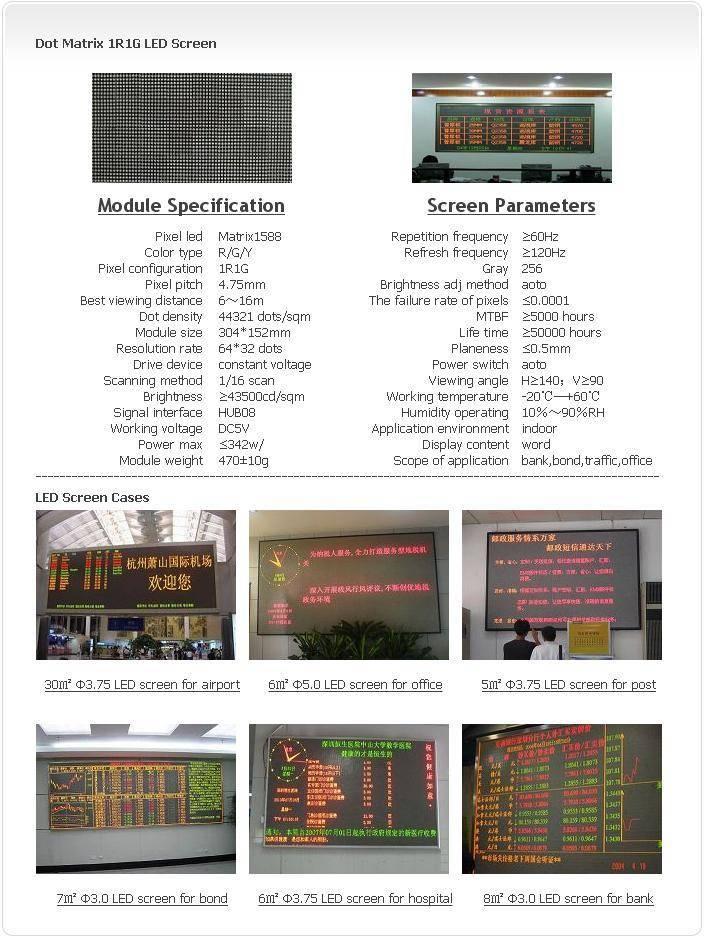 selling Indoor 3.75 Dot Matrix Unicolor-RG LED Screen