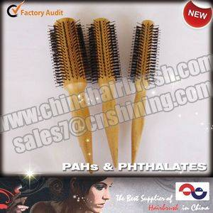 Round Bamboo Hairbrushes with Pointed Handle
