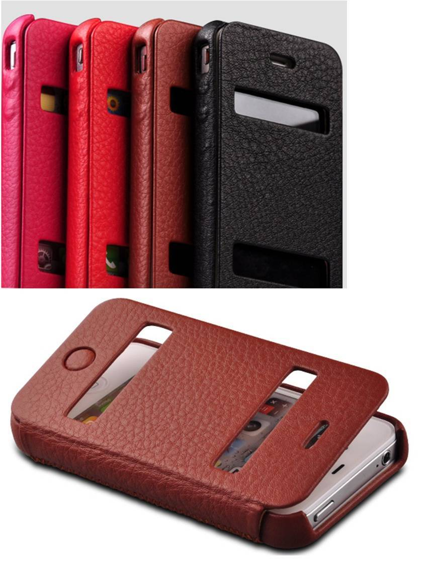 Mobile case genuine leather case for iPhone 4/4S,iPhone 5 flip case