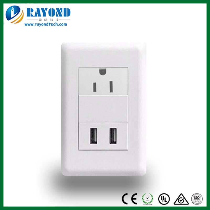 American Standard Single Electrical Power Outlet with 5V/2.1A Duplex USB Charging Ports