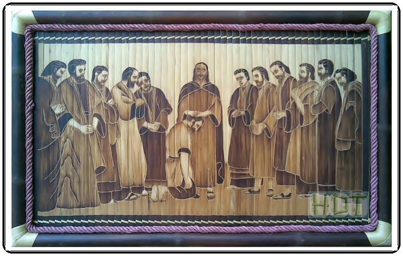 Shaving Smoked Bamboo Painting (Catholic Artworks Artwork)_ This Is Not Painted