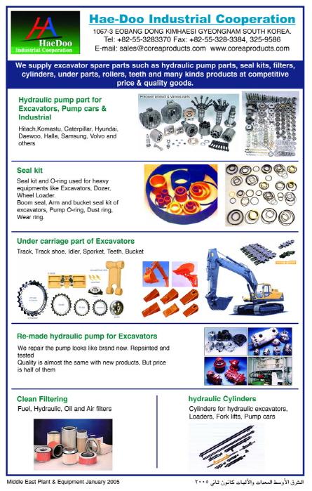 excavator parts made in Korea