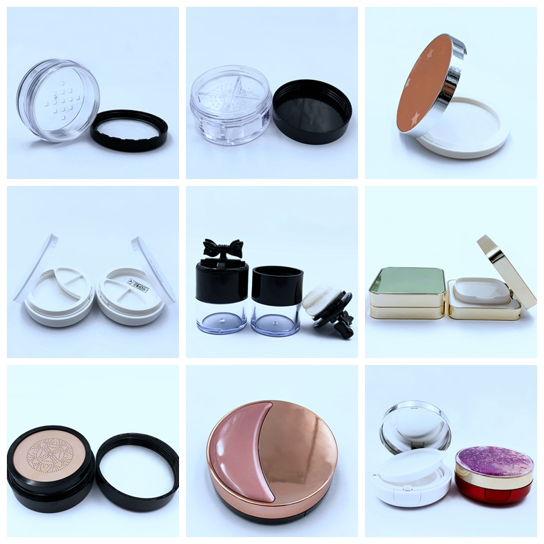 empty plastic loose powder palette case bottle jar cosmetics containers box with puff can custom pri