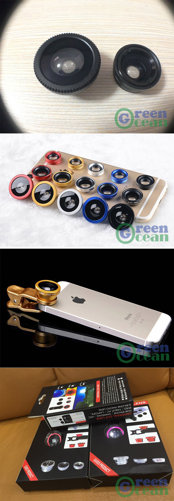 180 Fisheye, 0.65x Wide Angle, 10x Macro for Most Mobile Phones Apple, Samsung, LG, Sony