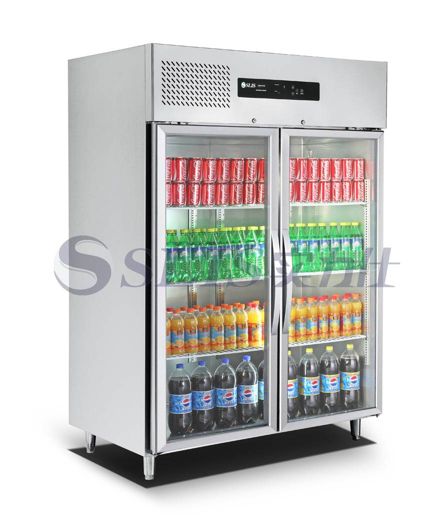 Supermarket fresh foods fan cooling glass door refrigerator with LED light,1200L