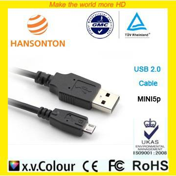 Popular CE ROHS USB Cable 2.0 to MINI5p