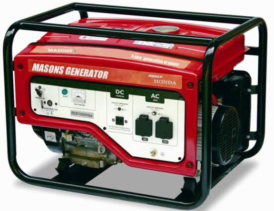 Masons open frame portable generators electrical start with HONDA ENGINE 50/60Hz 7.2kva/6.1kva 25L