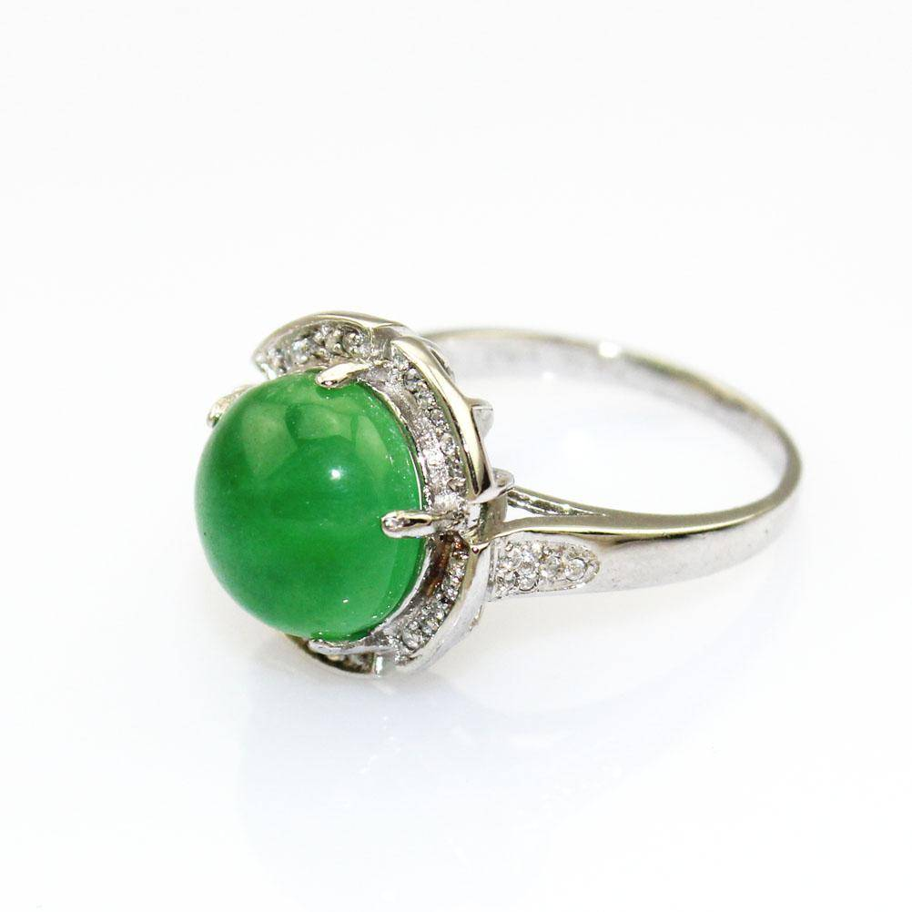 Sterling Silver Jewelry with Green Jade and Cubic Zircon Ring (F03)