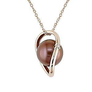 14k rose gold brown freshwater pearl and diamond pendant necklace,diamond jewelry,pearl pendant