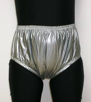 2201-ADULT BABY DIAPERS INCONTINENCE PLASTIC PANTS-Sliver