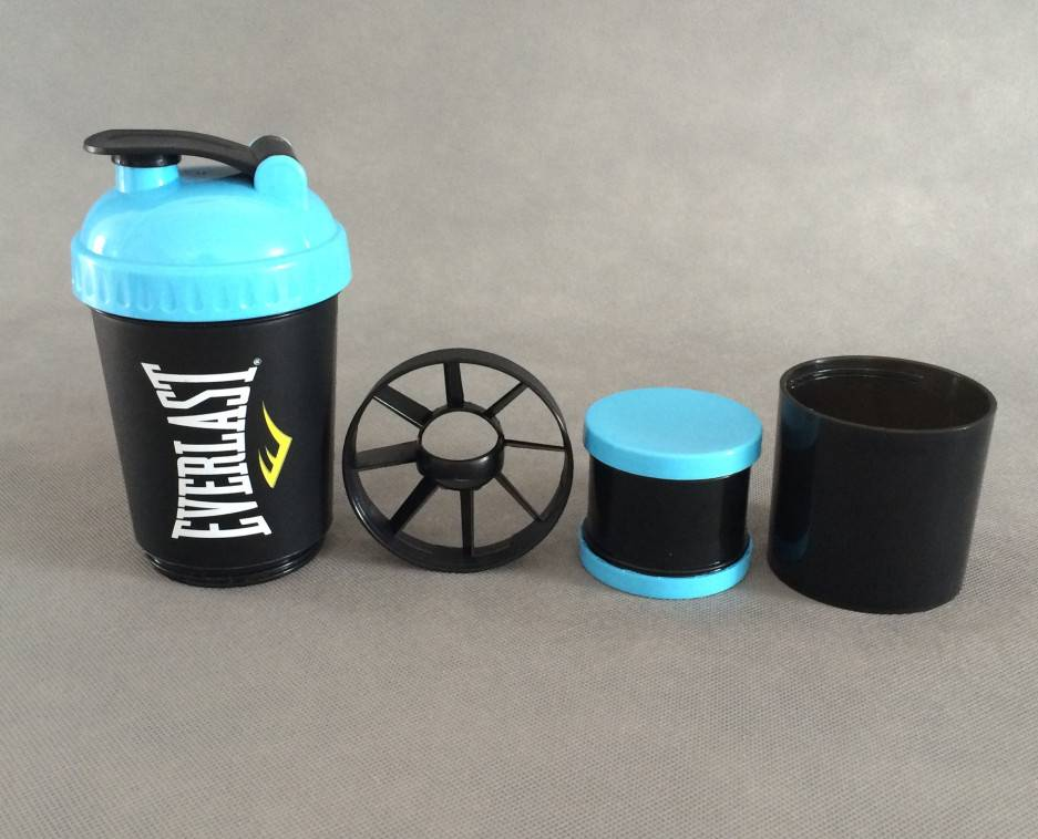 3-in-1 shaker bottle with extra container