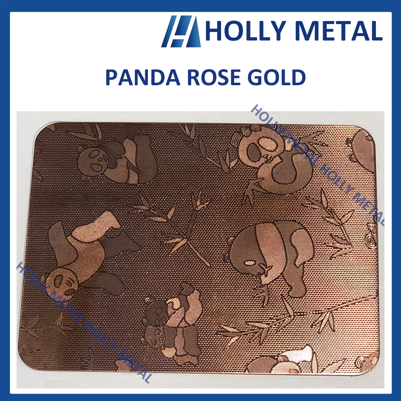 Stainless Steel Pattern Embossed Etched Decoration Sheet (Rose Gold Panda)