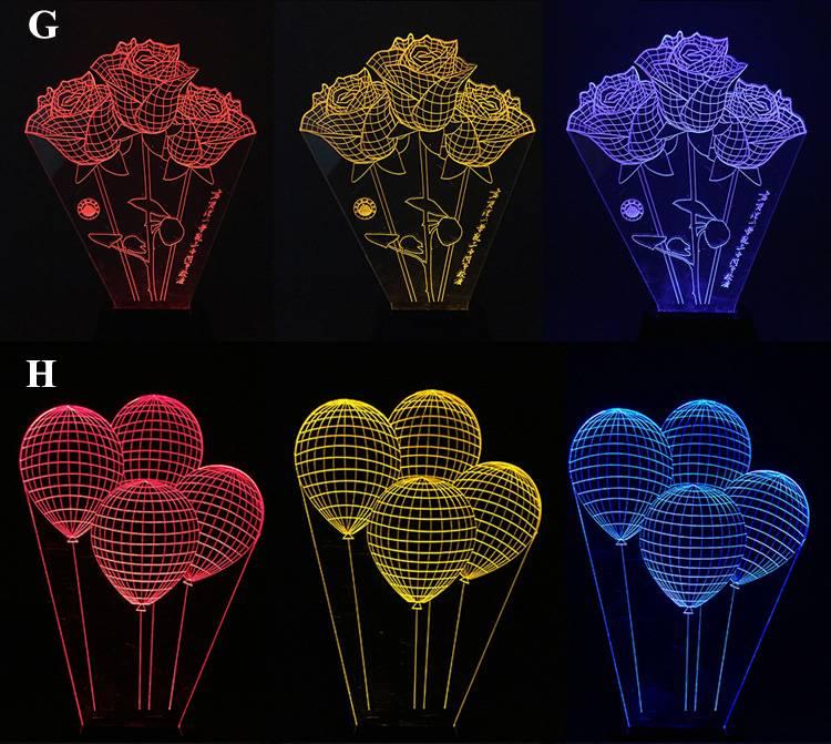3D Illusion Acrylic Led Balloon Night Light 3D Amazing Decoration Night Lamp