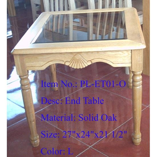 Solid Oak End Table w/Glass