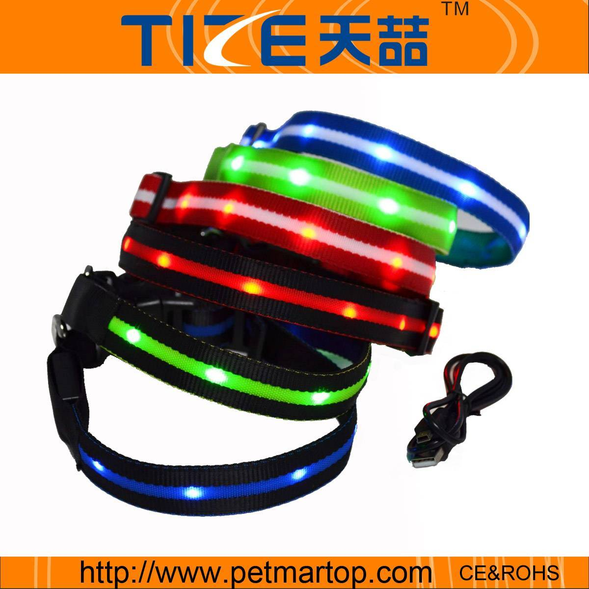 Rechargeable led flashing dog collar TZ-PET6100U