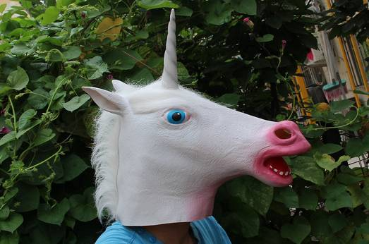 Youtumall Halloween Pink Mouth Unicorn Head Horse Mask