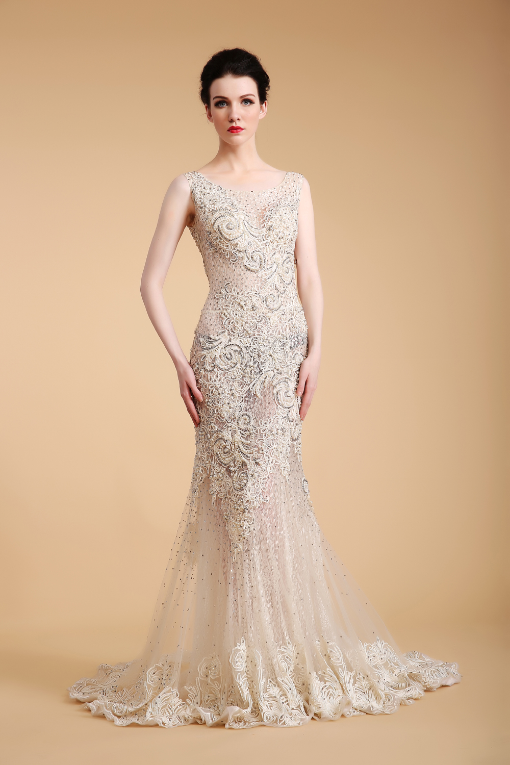 white mermaid luxury evening dress in european -style