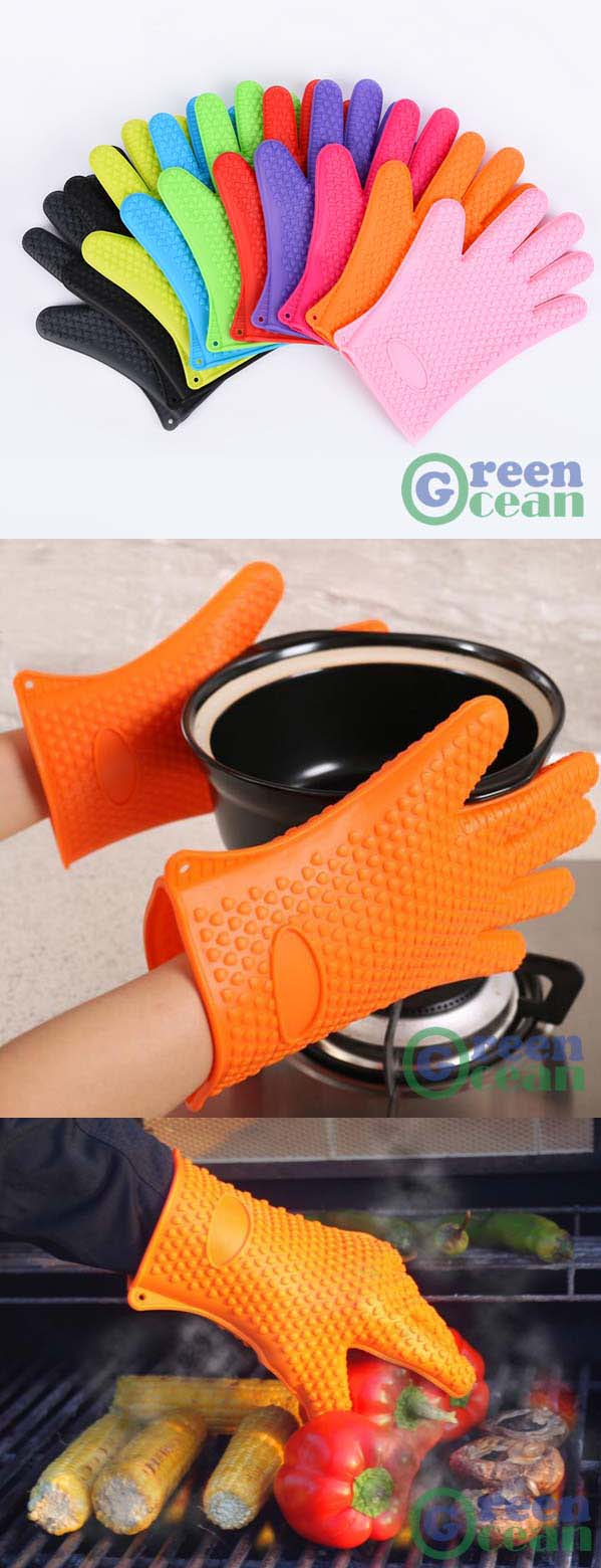 Oven Mitt, BBQ Grill, Cooking, Dishwashing and Pot Holder Heat Resistant Silicone Glove