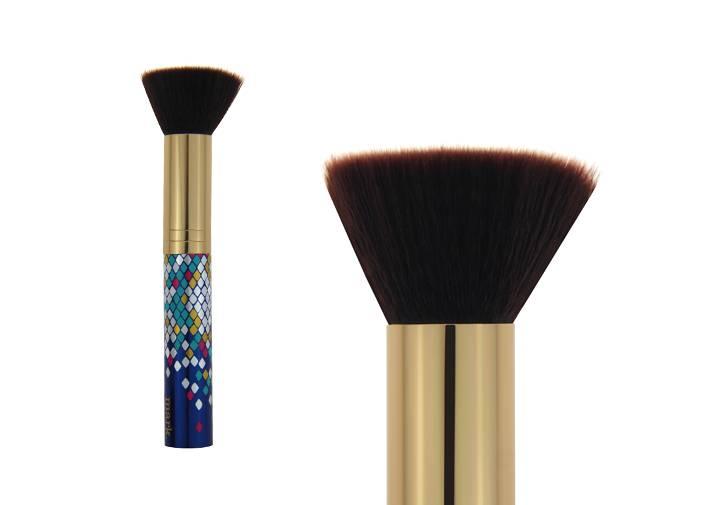Flat Top Brown Nylon Hair Contour Blush Brush Golden Metal Ferrule Plastic Handle Brush