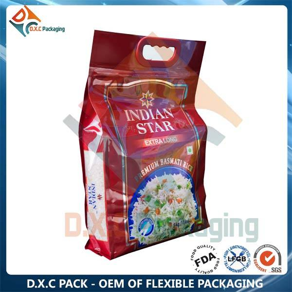Customized Order Plastic Rice Bag 5kg With Handle