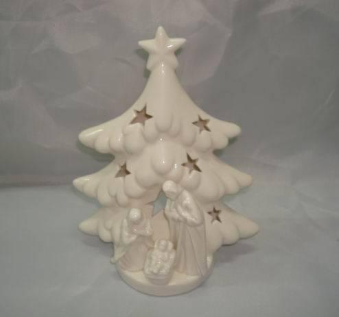 Porcelain religious tree including figurine