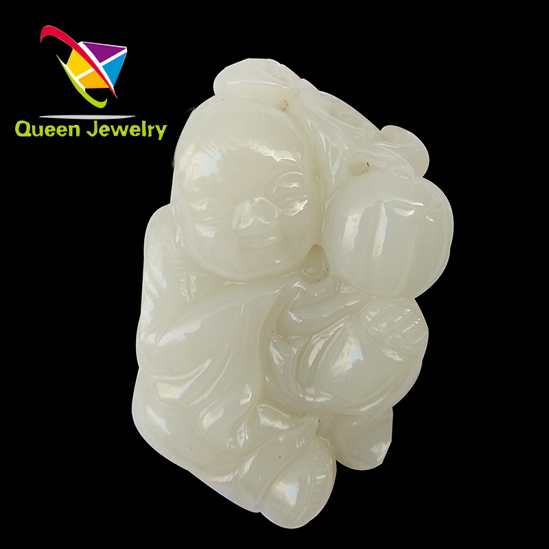 highest quality Russia Jade Hand-carved happy baby self-cultivation handpiece value-added collection