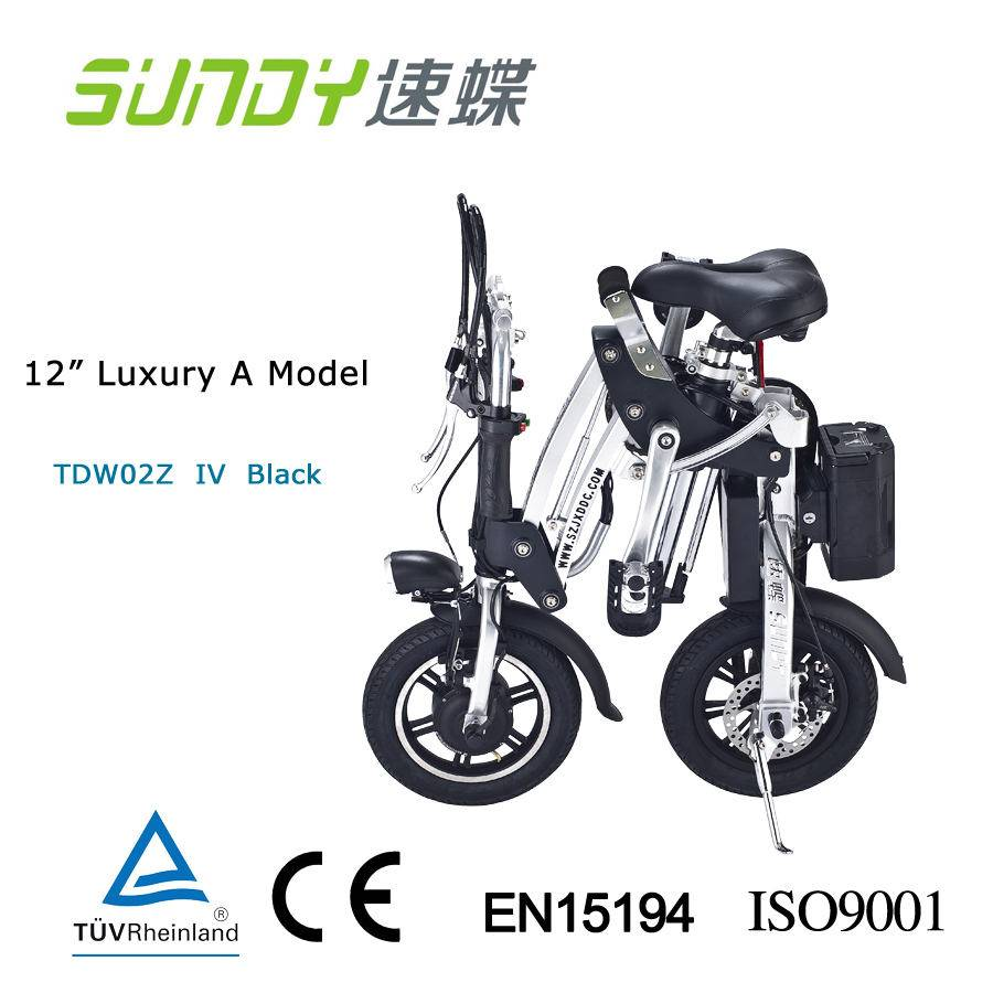 12 mini folding elecric bicycle Luxury A duo disk brake-black