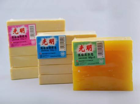Yellow translucent laundry soap, washing soap, detergent laundry soap
