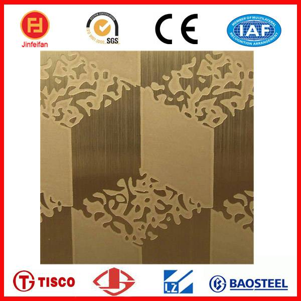 etched stainless steel ti-golden decorative sheet