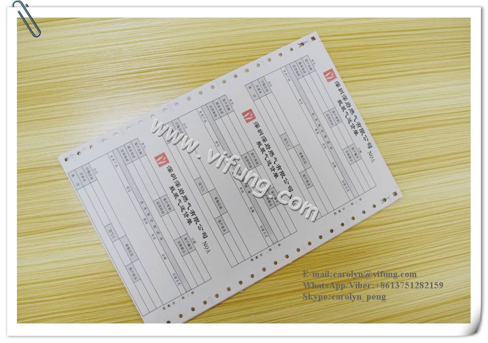 NCR paper carbonless continuous Registration Form printing