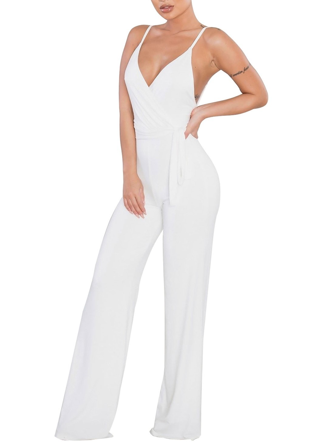 Sexy Sleeveless Wide Leg Long Pants One Piece Jumpsuits Clubwear