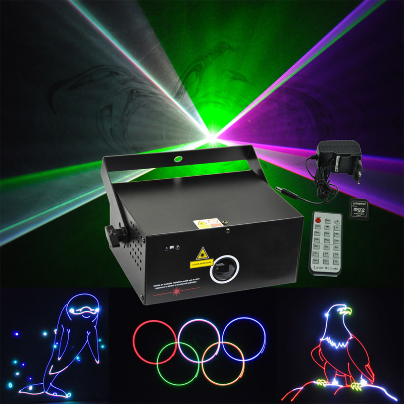 Mini RGB 500mW Laser Light Full Color SD Card LCD Display Pro DJ Disco Party Stage Lighting
