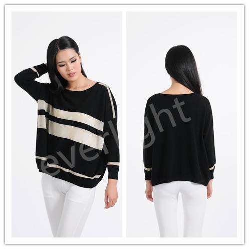 fasional women casual 100% cashmere crew neck pullover sweater