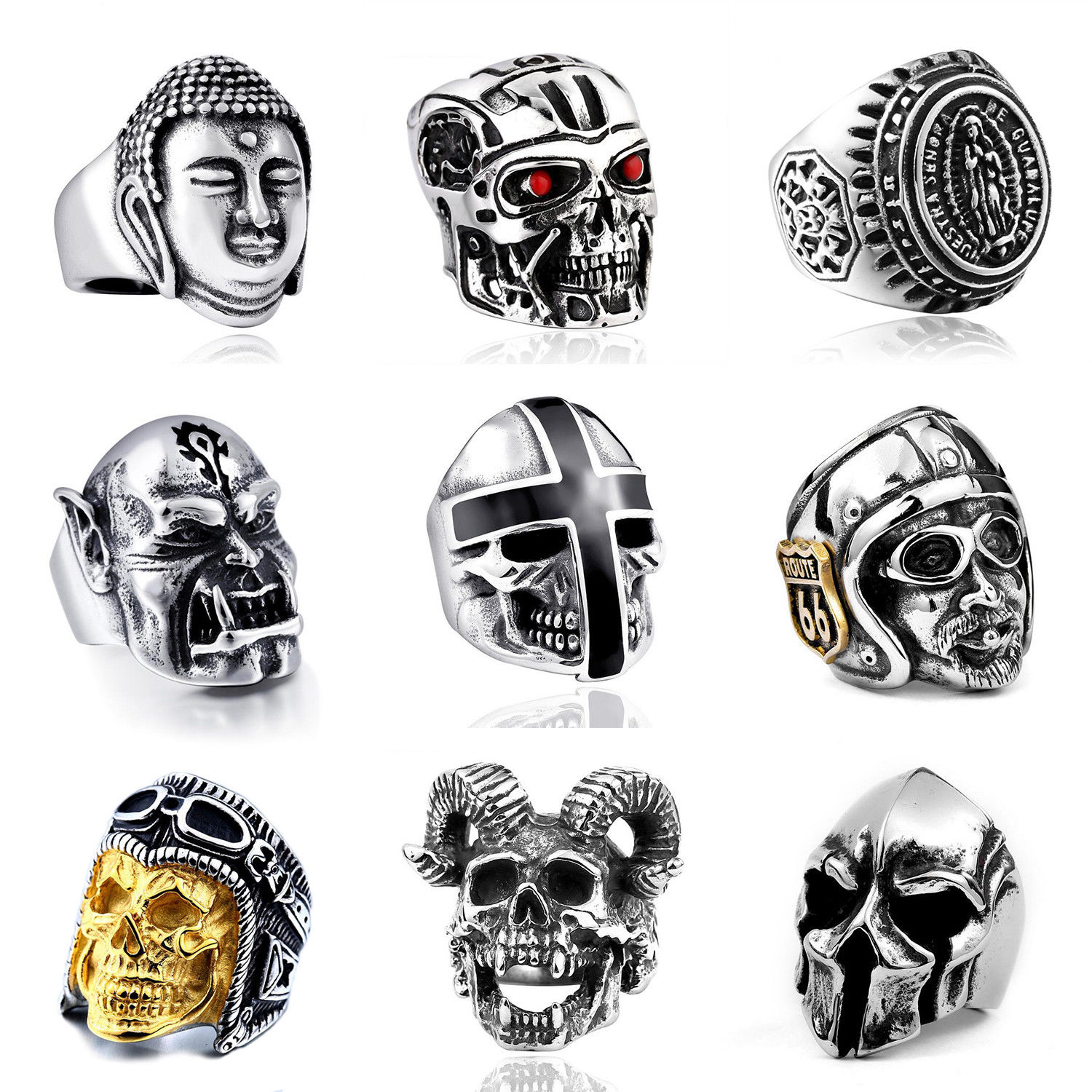 Unique Silver plating Punk Ring 316L Stainless Steel Heavy Sugar Skull Ring